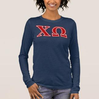 T-shirt À Manches Longues Lettres de rouge d'Omega de Chi
