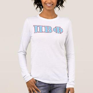 T-shirt À Manches Longues Lettres marron et bleues de bêta phi de pi