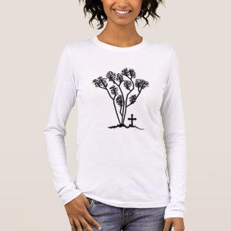 T-shirt À Manches Longues Logo noir et blanc de longue chemise de la douille