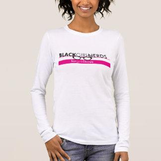 T-shirt À Manches Longues Longue pièce en t de douille de ballots noirs de