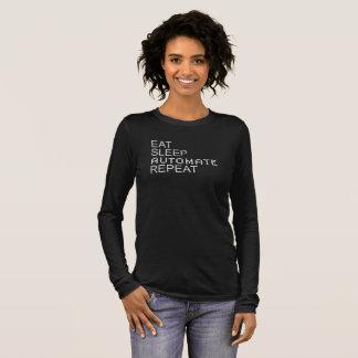 T-shirt À Manches Longues Mangez. Sommeil. Automatisez. Répétez. Texte blanc