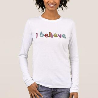 T-shirt À Manches Longues Noël i croient la chemise