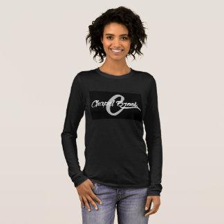 T-shirt À Manches Longues noir de la douille des femmes de ruisseau de