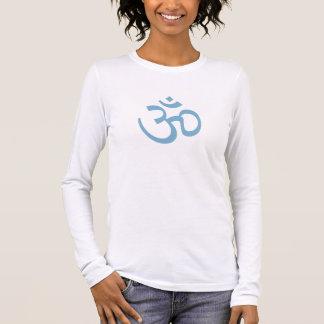 T-shirt À Manches Longues OHM, yoga d'OM Namaste, bleu de glacier