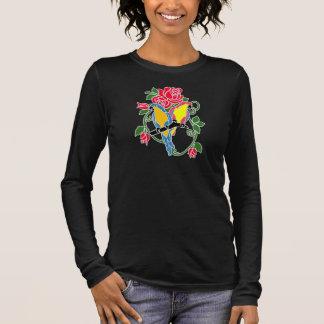 T-shirt À Manches Longues Perroquet et rose rouge plus le dessus de dames de