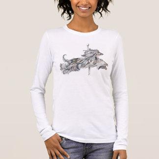 T-shirt À Manches Longues Saut de carrousel de lévrier afghan
