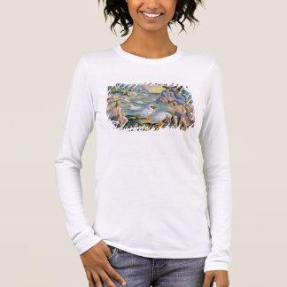 T-shirt À Manches Longues Sauvages Semi-Nus de l'Inde utilisant des pélicans