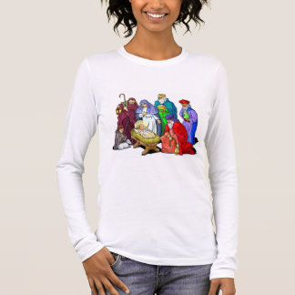 T-shirt À Manches Longues Scène colorée de nativité de Noël