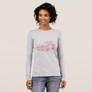 T-shirt À Manches Longues Tesla X w/dog, rouge, longue douille grise