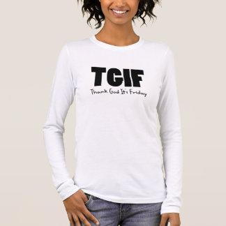 T-shirt À Manches Longues TGIF remercient Dieu son vendredi