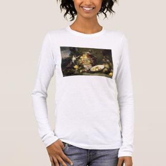 T-shirt À Manches Longues Trois singes volant le fruit (huile sur la toile)