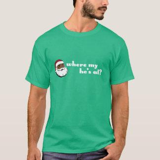 T-shirt À où mon Ho ? Père Noël noir avec les lettres