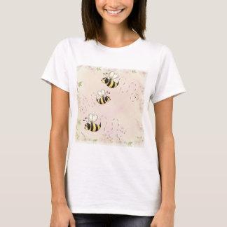 T-shirt Abeilles mignonnes de pays et roses roses