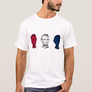 T-shirt Abraham Lincoln rouge, blanc, et bleu
