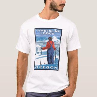 T-shirt Admirer de skieur - loge de Timberline, Orégon