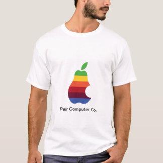 T-shirt adulte blanc de l'ordinateur Co de paires