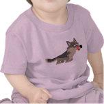 T-shirt affamé de bébé de loup de bande dessinée