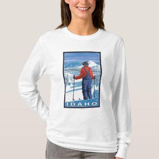 T-shirt Affiche de voyage d'AdmiringIdahoVintage de skieur