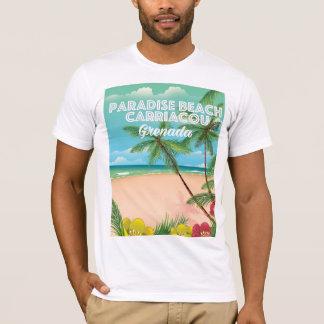 T-shirt Affiche de voyage de carriacou de plage de paradis