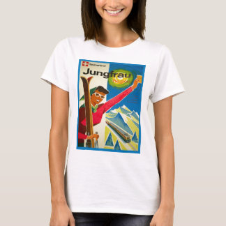 T-shirt Affiche vintage de ski, région de Jungfrau, Suisse