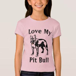 T-shirt Aimez mon bébé de filles de pitbull - tee - shirt