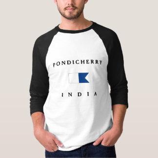 T-shirt Alpha drapeau de piqué de Pondicherry Inde