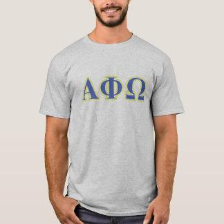 T-shirt Alpha phi lettres jaunes et bleues d'Omega