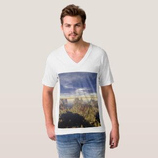 T-shirt américain de V-cou du Jersey d'amende de