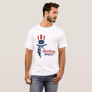 T-shirt Américain et fier de lui la pièce en t des hommes