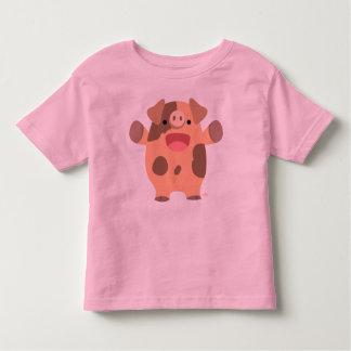 T-shirt amical d'enfants de porc de bande dessinée