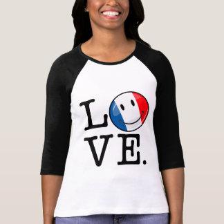 T-shirt Amour de drapeau de sourire de la France