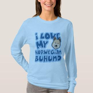 T-shirt Amour de Kawaii I mon Buhund norvégien