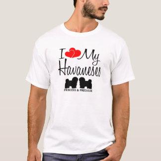 T-shirt Amour de la coutume I mes deux Havaneses