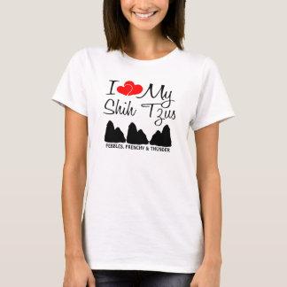 T-shirt Amour de la coutume I mes trois Shih Tzus