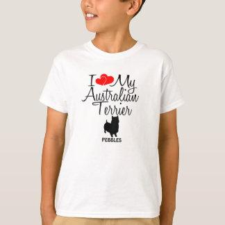 T-shirt Amour de la coutume I mon Terrier australien