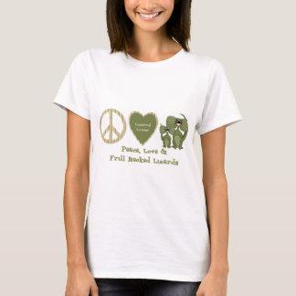 T-shirt amour de paix et lézards étranglés de vrille