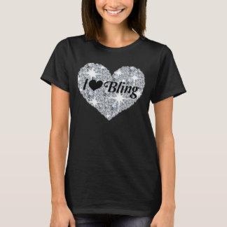 T-shirt Amour du coeur i de diamant de Faux bling le