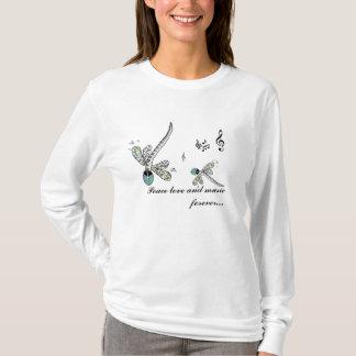 T-shirt amour et musique de paix de libellule pour