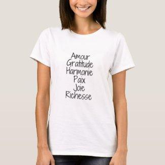 T-shirt Amour Gratitude Harmonie Joie Santé