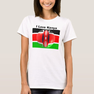 T-shirt Amour Kenya de la chemise I de drapeau du Kenya