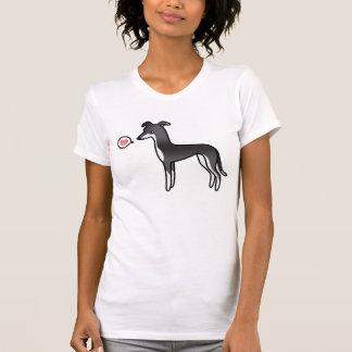 T-shirt Amour noir et blanc de lévrier/whippet
