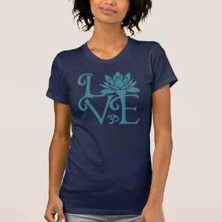 T-shirt Amour-OM-Namaste Racerback Teal et bleu-foncé