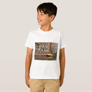 T-shirt Amsterdam, canal, bateau en bois de chaussure