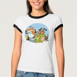 T-shirt Amusement d'animaux de région boisée courant le