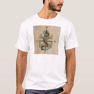 T-shirt ancre nautique de bleu de boussole de toile de