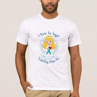 T-shirt Ange observant au-dessus de moi le ruban turquoise