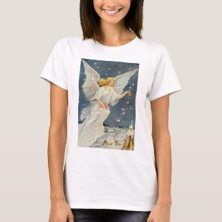 T-shirt Ange victorien de Noël vintage avec des roses