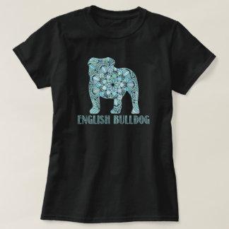 T-shirt anglais de bouledogue de mandala