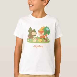 T-shirt Animal coloré mignon de région boisée pour des