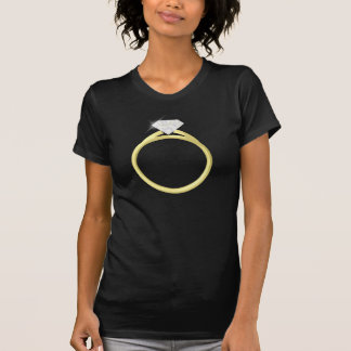 T-shirt Anneau de solitaire de diamant